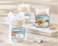beach candle holders - 100 romatic beach wedding candle gfit blue Ocean jelly candle holders candle cups in event party supplies