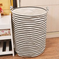 Wholesale cm Foldable Cotton amp Linen Storage Bucket Washing Clothes Laundry Storage Basket With Handles