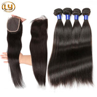 Wholesale 7A Brazilian Virgin Straight Hair With Closure Human Hair Bundles With Closure Unprocessed Virgin Hair