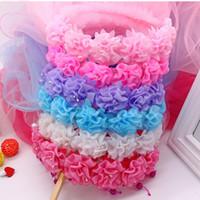 Wholesale Cheap Children Garlands Long Lace wedding dress veil Girls Princess Flower hair accessories hair bands Headband Headpieces Floral headwear b