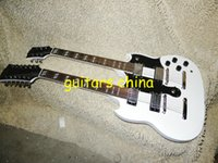 Cheap NEW Custom white Double Neck Electric Guitar 6  12 strings guitars OEM guitar free shipping