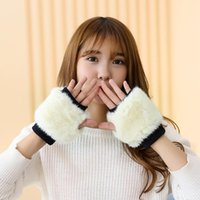 Wholesale New and lovely Imitation rabbit fur half refers to thicken the winter warm gloves Maomao gloves woman