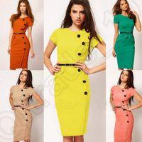 Wholesale 7 Colors Fashion Women Short Sleeve Midi Pencil Dress Evening Party Colorful Working Formal Slimming Dresses LJJJ97