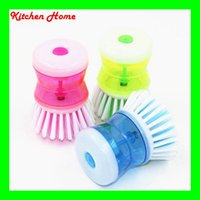 auto wash bowl - Auto Adding Cleaning Liquid Pressing Household Kitchen Dish Pot Bowl Washing Brush Cleaning Brush Steel Wire brush
