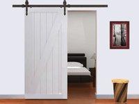Wholesale 6FT Dark Coffee Modern American Style Barn Wood Sliding Door Hardware Closet Set
