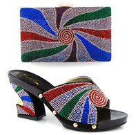 Wholesale 2016 New matching italian shoes and bag set gold color open toe heels african shoes and bag set