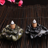 Wholesale 85mm x mm x mm Retro Lotus Backflow Smoke Ceramic Gadgets Buddhist Incense Burner Sandalwood Censer with Backflow Cones Z00D439