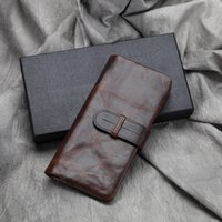 american guarantee - Men s business casual retro guaranteed cowhide long Bifold Wallet Genuine Leather long purse