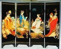 Wholesale cheap Collectibles china s quot four beauties quot folding decoration screen