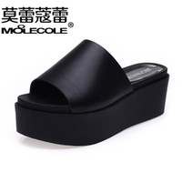 beach fl - Fashion woman shoes platform sandals word band slippers Summer with drill female cool slippers slippers large base sponge female sandals fl
