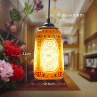 Wholesale LED Pendant Light Pretty Porcelain Chinese Style Jingdezhen Hollow Ceramic Loft Coffee Bar Restaurant Kitchen Lights