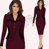 Wholesale 400PCS LJJM99 False Piece Dress Women s Colorblock Business Work Suit Jacket Blazer Office OL Pencil Skirt Dress Joint Long Sleeves