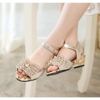 baby med - Hot Selling Fashion rhinestone Sandals for children Kids Low heeled Children Shoes For Baby Girls Wedge Sandals