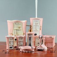 Wholesale Resin bathroom set eight piece pink toiletries kit bathroom accessories