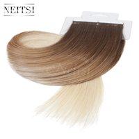 al por mayor cinta de pelo ombre-Neitsi 16 '' 18 '20' '22' 'Cinta recta en la extensión del cabello humano Destaque Ombre Color PU Piel de la cinta de la trama del pelo en