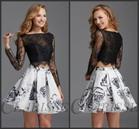 Wholesale Two Pieces Mikado A Line Homecoming Dresses Black White Long Sleeves Cropped Lace Top Beaded Short Prom Party Gowns Clarisse