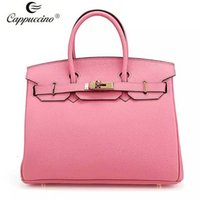 Wholesale 2016 Fashion Cappuccino New Collection Top Grian Genuine Leather Handbag Leather Lady Bag Leather Women Handbag