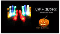 Wholesale Led Lighting LED Gloves glow colorful skeleton gloves For Party decorations dancing luminous toys A3