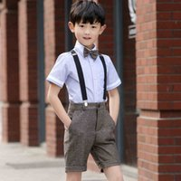 Wholesale 2016 New Arrival Shirt Pants Bowt Straps Spring Summer Style Boys Wedding Suit Boys Clothes Boys Suits for Weddings