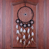 bead wall hanging - Dream Catcher Brown Wall Hanging Decoration Bead Ornament Feathers Long quot Circular Dream Catcher with Feathers