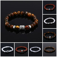 Wholesale Bracelets Natural Stone bead Buddha Bracelets For Women and Men Silver Buddha Turquoise pulseras mujer Black Lava Bead Bracelet