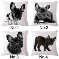 Wholesale French Bulldog animal print linen sofa pillow case without pillow