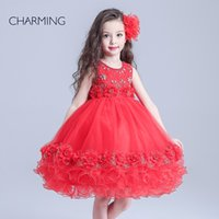 beauty hands prints - children and beauty pageants designer dresses for kids Red round neck style Satin fabric designer dresses
