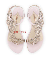 angels sandal - Fashion Women s Sophia Webster Seraphina Metallic Leather Angel wings Crystal Flat Sandals Eur Size