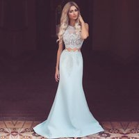 arab dress women - Light Blue Piece Prom Dress Lace Sexy Women Arab Formal Long Party Evening Gowns Satin Vestidos de formatura L311