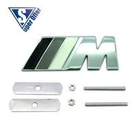 Wholesale GRAY M D Metal Sport Front Hood Grill Badge Emblem stickers screws for M3 M5 X1 X3 X5 X6 E36 E39 E46 E30 E60 E92