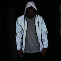 jacket hooded - Men jacket casual hiphop windbreaker m reflective jacket men sport coat hooded fluorescent clothing