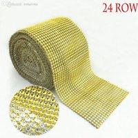 achat en gros de cristal tissu d'habillement-Vente en gros-couleur de l'or NO Strass Trimming diamant tissu en tissu Mesh strass Appliques nuptiale en cristal pour la décoration des vêtements 10 Yard
