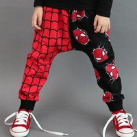 Wholesale autumn cotton trousers for boys spiderman casual harem pants for kids fashion and comfortable contrast color