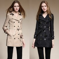 Wholesale European Long Trench Coat For Womens Red Black Khaki Cotton British Brand Top Fashion Designer Sexy Lady Office Clothes BC1135