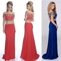 beautiful celebrity - 2016 Sexy Two Piece Prom Dresses Off the Shoulder Bling Bling Mermaid Party Gown with Beautiful Beading Chiffon Custom Made Celebrity Dress