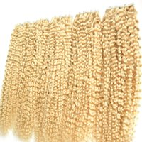 Wholesale Bleach Blonde Brazilian Hair g Skin Weft Tape Hair Extensions g strand Brazilian Kinky Curly Tape In Human Hair Extensions