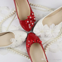 Wholesale 2016 white flat female shoes bridal wedding shoes the red wedding lace pearl bridesmaid shoes flat heel low heeled shoes