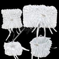 Blanc dentelle diamant LOVE boucle satin ruban bow Guest Book stylo Set oreiller panier de fleurs pour la décoration de mariage