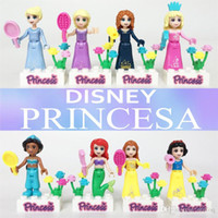 Wholesale 8pcs Princess Jasmine Aurora Cinderella Ariel Rapunzel Snow White Bella Building Block Minifigure Girls JG115