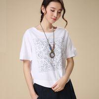 Wholesale Mori Girl Linen Casual Loose Shirt Summer Style Totem Print T shirt Womens Short Sleeve BlusasTops Camisetas Femininas