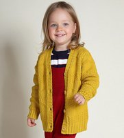 Wholesale INS baby Girls Sweater coat V neck collar Sweater Girls single breast knitting Cardigan outwear Children princess cardigan kid clothes A9580