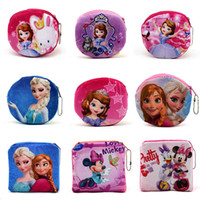 Wholesale 2016 New Hot Multifunction Coin Purses Clutch Bags Colors Zootopia Frozen Mickey Plush Mini Wallets Pouch metal puller zipper pocket