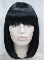 bang hair pictures - 100 Brand New High Quality Fashion Picture full lace wigs gt gt color BOB Short Straight bangs Women Female Lady Hair Full Wig Perruque E