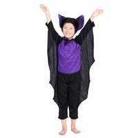 Wholesale 2016 New Kids Bat cosplay jumpsuits two piece sets hat jumpsuit Holloween Cosplay costume for children new years christmas performance party