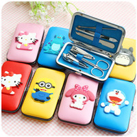 Wholesale 6pcs set Nail Tool Kits Cartoon Case Nail Clippers Mini Manicure Set Nails Tools Cuticle Grooming Kit F551