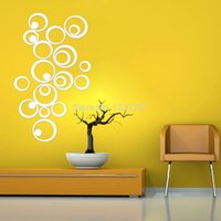 artistic paper - New Home Decorations DIY Silver Mirror Wall Sticker Artistic Round Wall Decal