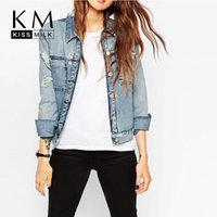 Wholesale Slim Large Lapel Coat - Kissmilk 2016 Women Plus Size Big Large Size New Fashion Single Button 3XL 4XL 5XL 6XL Long Sleeve Slim Denim Coat