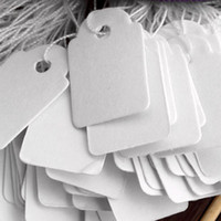 Wholesale Strung Price Tags Wholesale - Free Shipping Wholesale 2500pcs(5 bags) 23*14mm White Without Print Label Tie String Price Tags,Shoe Showcase Counter Table Jewelry Display