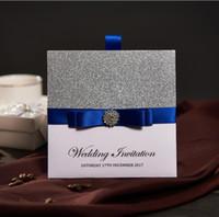 Wholesale Traditional Pocket Wedding Invitations With Blue Ribbon Rhinestone Buckle Custom Wedding Cards Free RSVP Envelope NK741