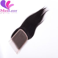 Wholesale Malaysian Straight Lace Closure Bleached Knots x4 Inch B Color Unprocessed Virgin Human Hair Closure Middle Free Part Lace Closure